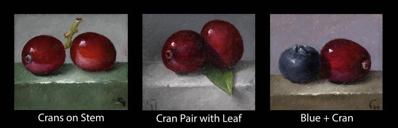Cranberries (sold individually) , oil on panel, 1.5 x 1.75 inches, $200 (per cube)