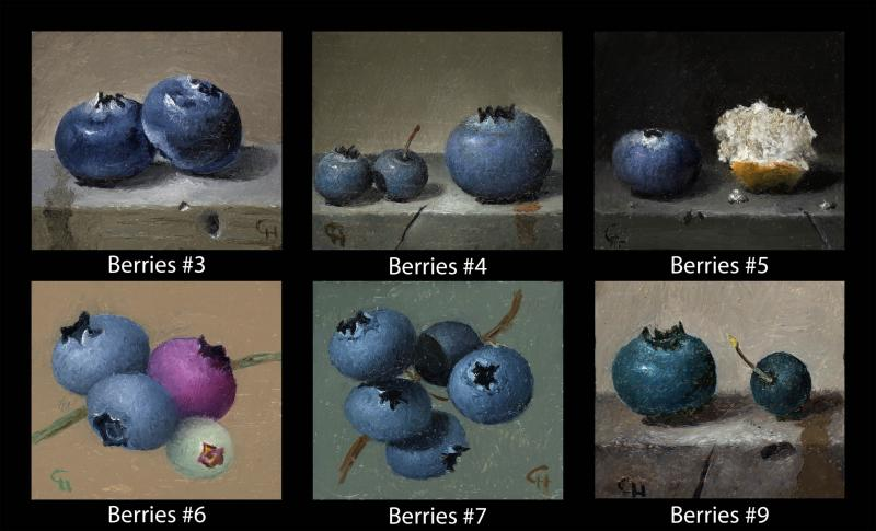 Berries (#3 to #9), oil on panel, 1.5 x 1.75 inches, $200 (per cube)