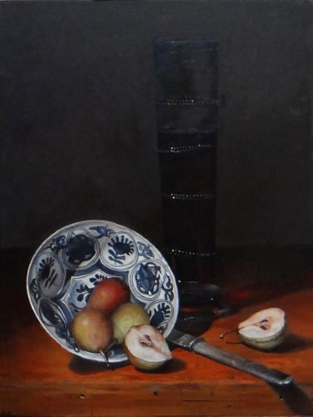 Little Pears in Ming Kraak, oil on panel, 16 x 12 inches, $2,500