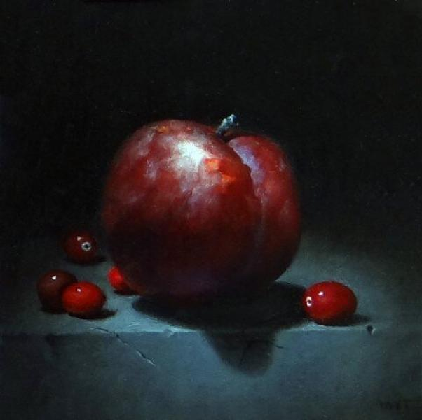 Plum with Cranberries, oil on panel, 6 x 6 inches   SOLD