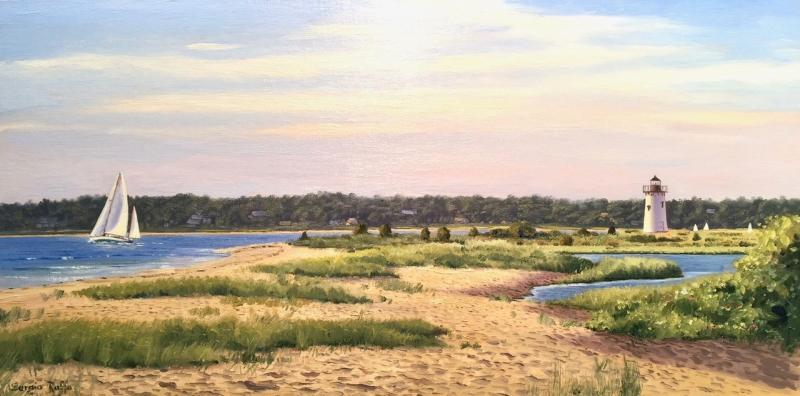 Edgartown Light, oil on canvas, 10 x 20 inches, $4,000