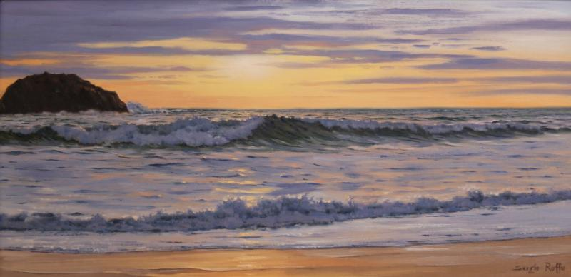 Surf at Sunrise, oil on canvas, 10 x 20 inches, $6,000