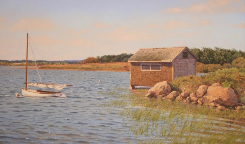 The Boathouse, oil on canvas, 18 x 30 inches , $10,500