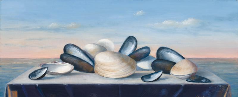 Mussels and Clams, oil on canvas, 8 x 18 inches, $500