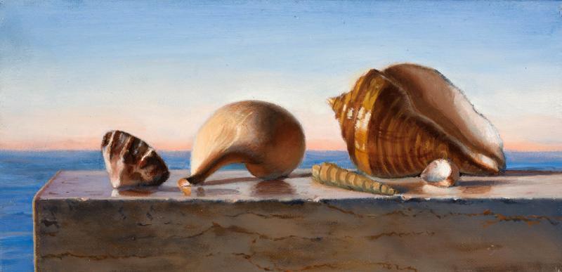 Sea and Shells, oil on canvas, 6 x 12 inches, $$ Please Inquire