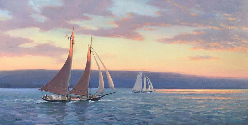 Approaching Sunset, oil on canvas, 12 x 24 inches, $3,200