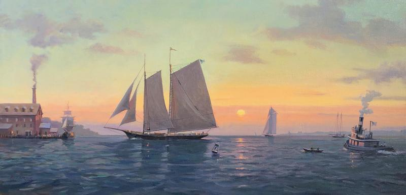 Evening Harbor Return, oil on canvas, 15 x 30 inches, $4,900