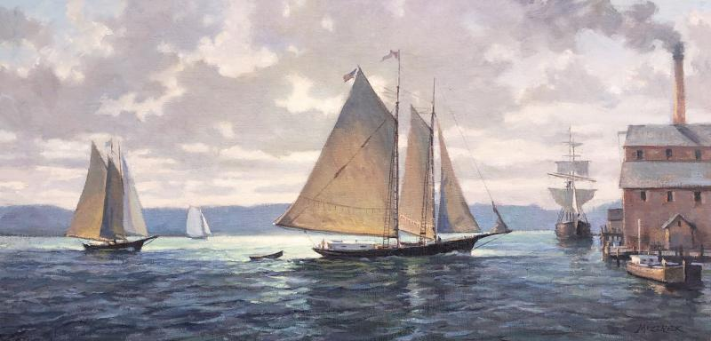 Schooners Return, oil on canvas, 12 x 24 inches, $3,200