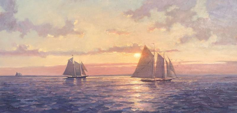 Sunset Sail, oil on canvas, 12 x 24 inches, $3,200