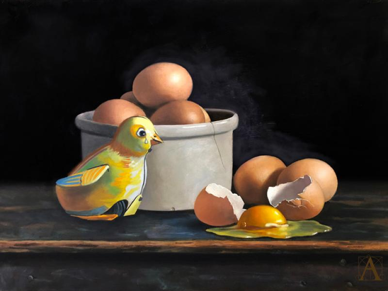 Butterfingers, oil on panel, 12 x 16 inches  SOLD