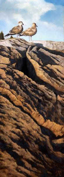 Sentinels, oil on panel, 36 x 12 inches, $3,750