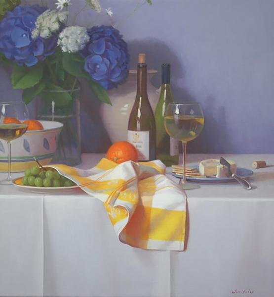 A Summer Lunch, oil on linen, 28 x 26 inches, $6,950