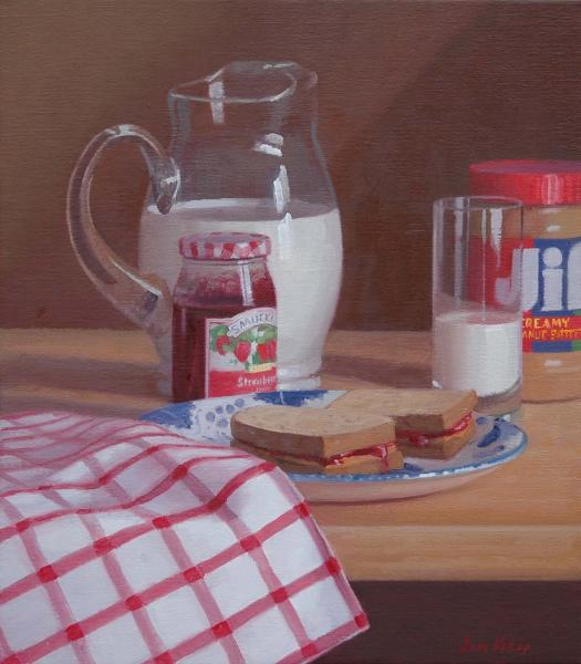 PB&J with Milk, oil on linen, 16 x 14 inches  SOLD