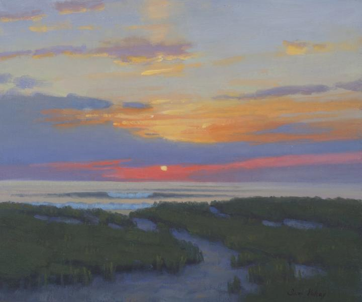 Sunrise Waves, oil on linen, 10 x 12 inches, $1,050