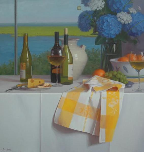 Table with a View, oil on linen, 32 x 30 inches  SOLD