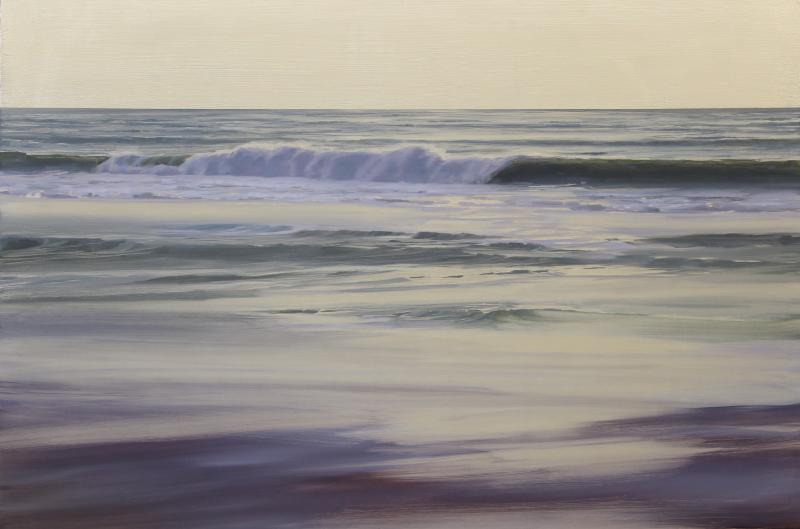 Beginning to Dawn, oil on white gold leaf on panel, 24 x 36 inches  SOLD