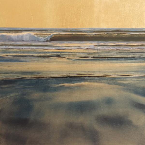 Glow of Gold, oil on gold leafed  panel, 16 x 16 inches, $2,300