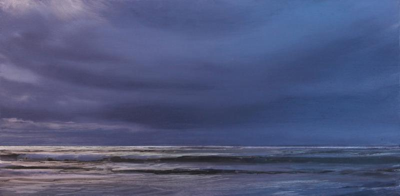 A Silver Sea, oil on silver leafed  panel, 8 x 16 inches   SOLD