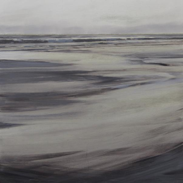 Into the Sea, oil on silver leafed panel, 16 x 16 inches, $2,300