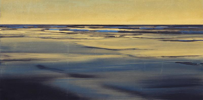 The Golden Hour II, oil on gold leaf on panel, 8 x 16 inches  SOLD