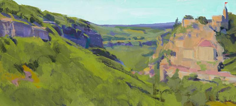 Across the Valley, Rocamadour, acrylic on panel, 9 x 20 inches, $1,700