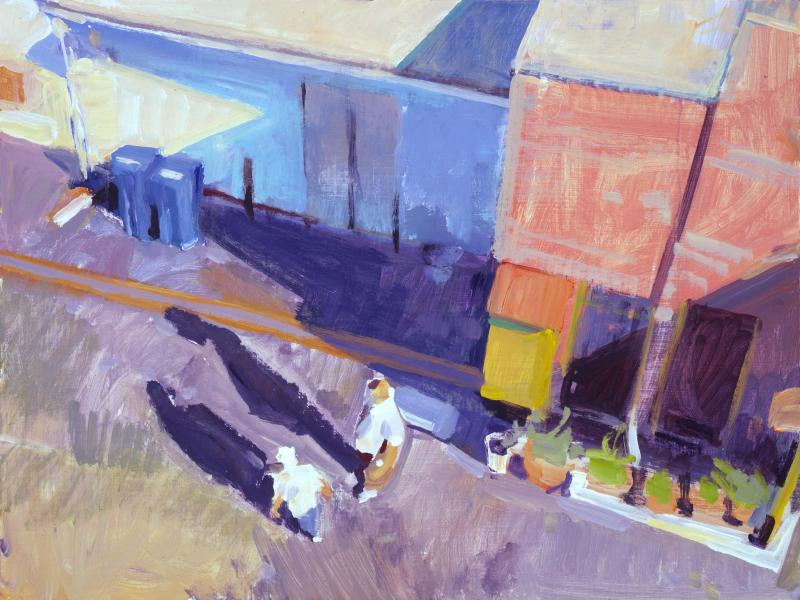 Alley Talk, acrylic on panel, 12 x 16 inches, $2,250