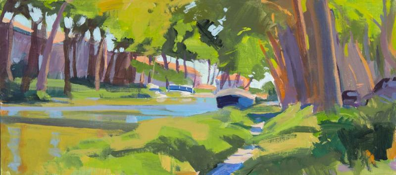 Canal at Salleles d'Aude, acrylic on panel, 9 x 20 inches, $1,875