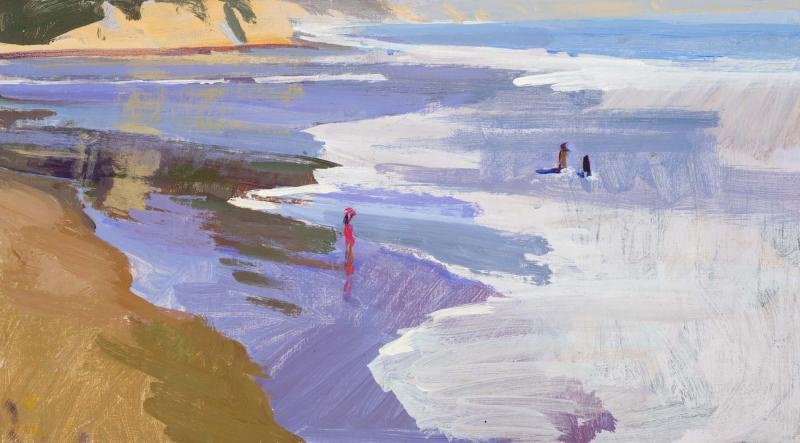 Playing in the Surf , acrylic on panel, 10 x 18 inches, $1,700