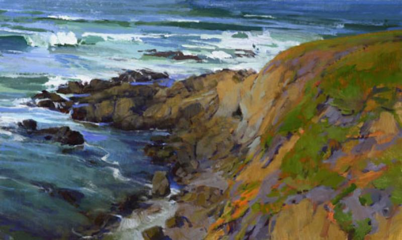 Ebb Tide, Otter Point, acrylic on panel, 18 x 30 inches  SOLD