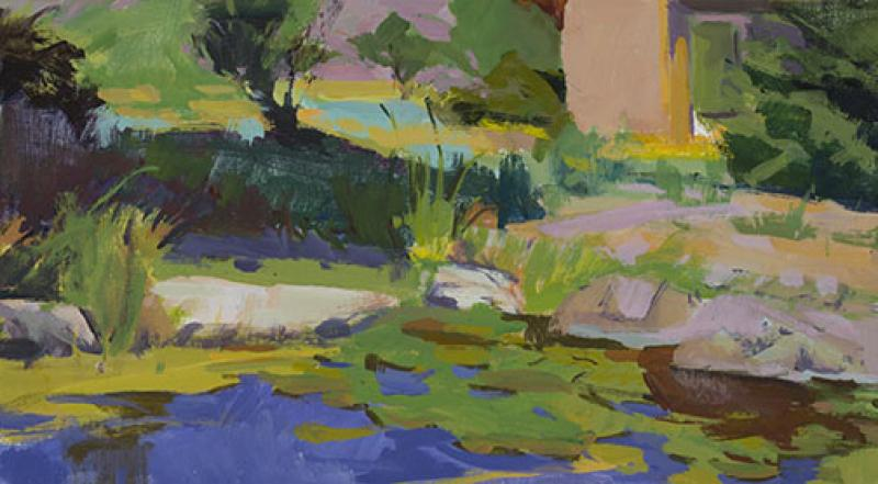 Edge of the Pond, acrylic on panel, 10 x 18 inches, $1,700
