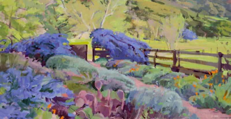 Spring Garden, Open Gate, acrylic on panel, 13.5 x 26 inches, $2,800