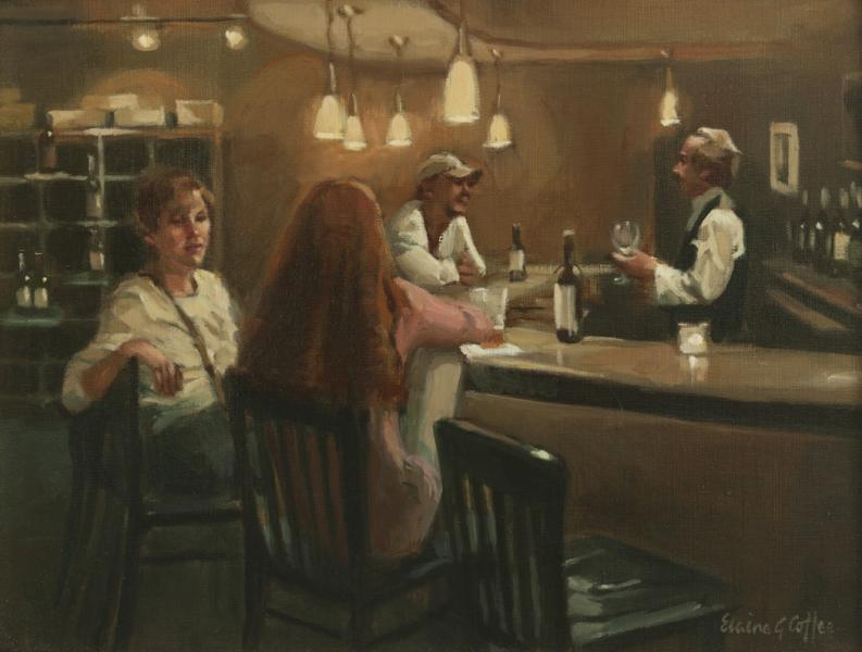 After work Respite, oil on linen, 12 x 16 inches, $3,900