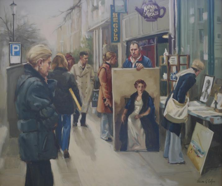 Street Artist in London, oil on linen, 23 x 27 inches, $7,900
