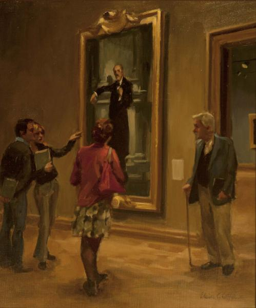 Museum Musings, oil on linen, 20 x 16 inches, $5,500