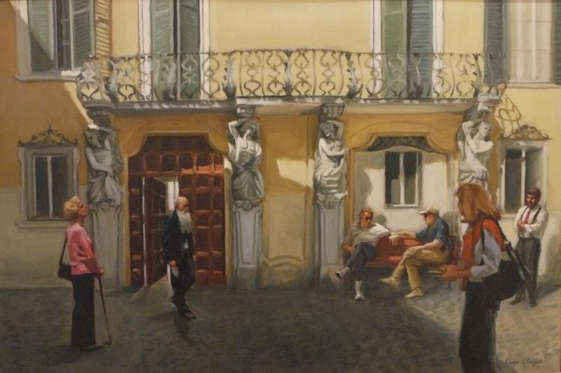 Taking in Jesi, Italy, oil on linen, 20 x 30 inches, $7,500