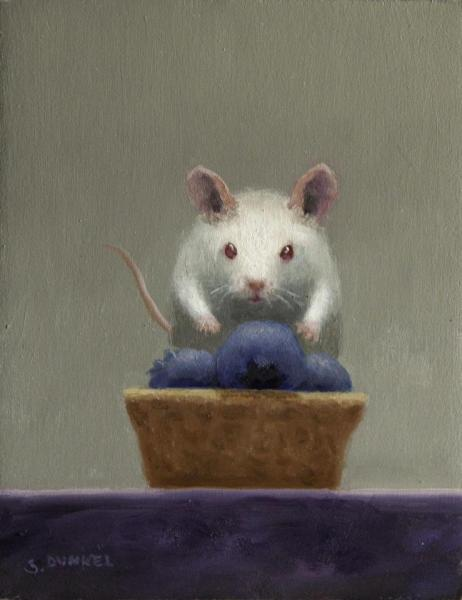 Blueberry Tart Lunch, oil on panel, 5 x 4 inches, $600