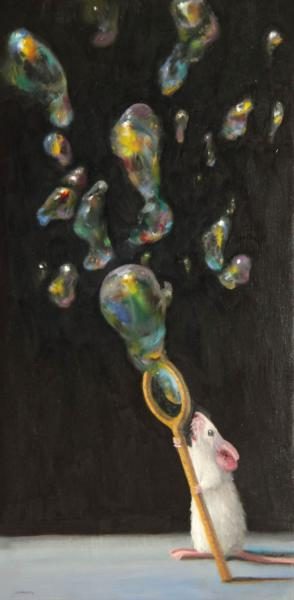 Bubble Magic, oil on panel, 12 x 6 inches  SOLD