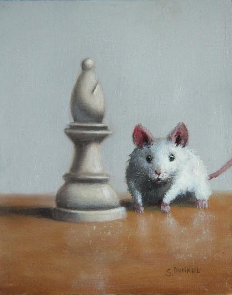 Checkmate, oil on panel, 5 x 4 inches, $600