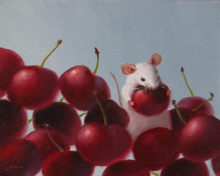 Cherries Jubilee, oil on panel, 4 x 5 inches, $600