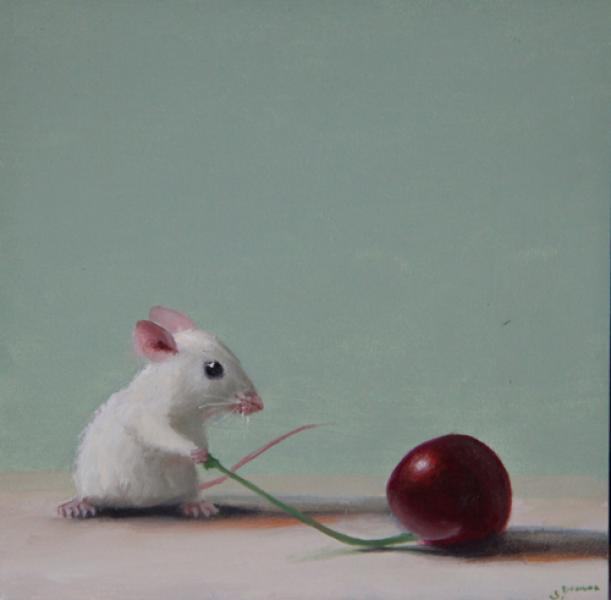 Cherry Delight, oil on panel, 5 x 5 inches  SOLD