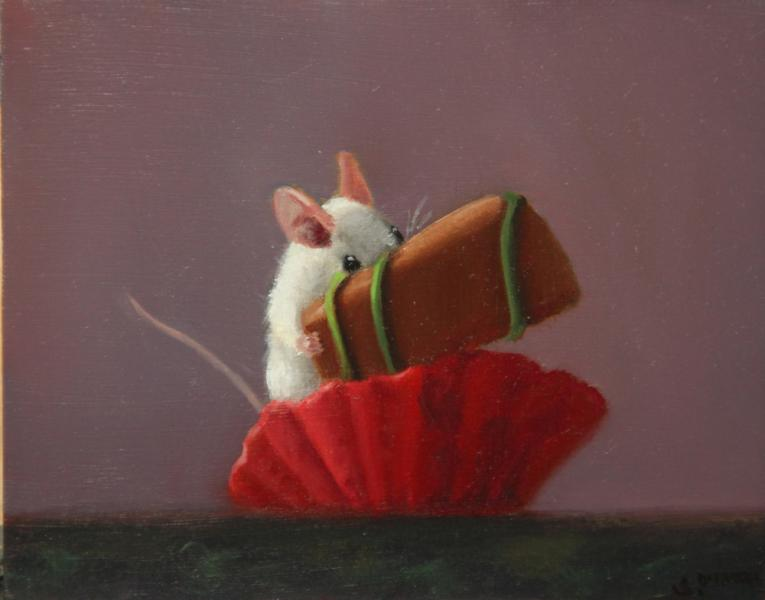 Chocolate Thief, oil on panel, 4 x 5 inches   SOLD