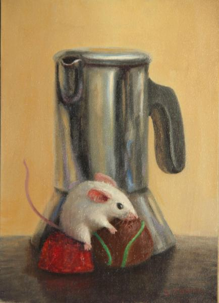Coffee Break, oil on panel, 7 x 5 inches, $800