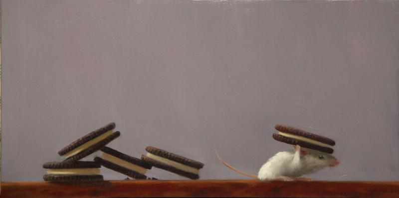 Cookie Lover , oil on panel, 6 x 12 inches  SOLD
