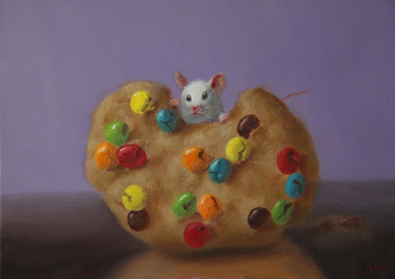 Cookie Meal, oil on panel, 5 x 7 inches, $800