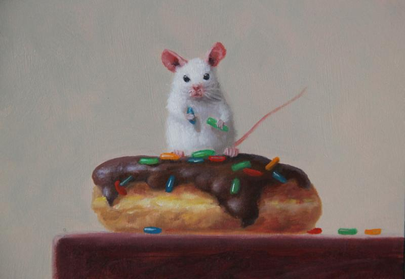 Donut Caper, oil on panel, 5 x 7 inches, $800