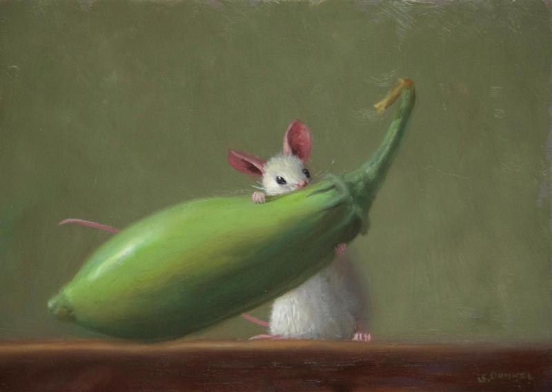 Eggplant Lunch, oil on panel, 5 x 7 inches, $800
