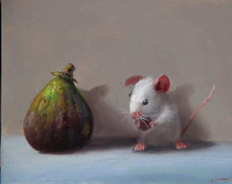 Fellow Fig, oil on panel, 4 x 5 inches, $600
