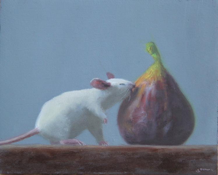Fig Lover, oil on panel, 4 x 5 inches, $600