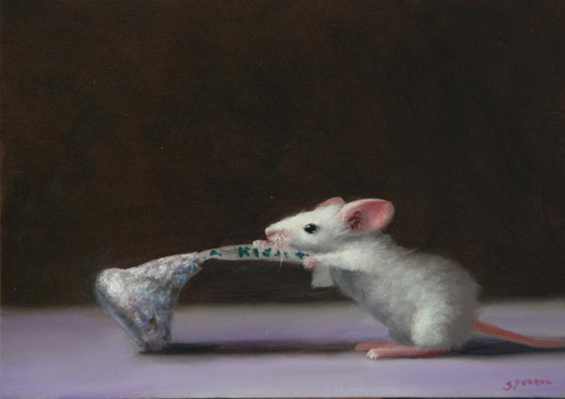 Going in for a Kiss, oil on panel, 5 x 7 inches  SOLD