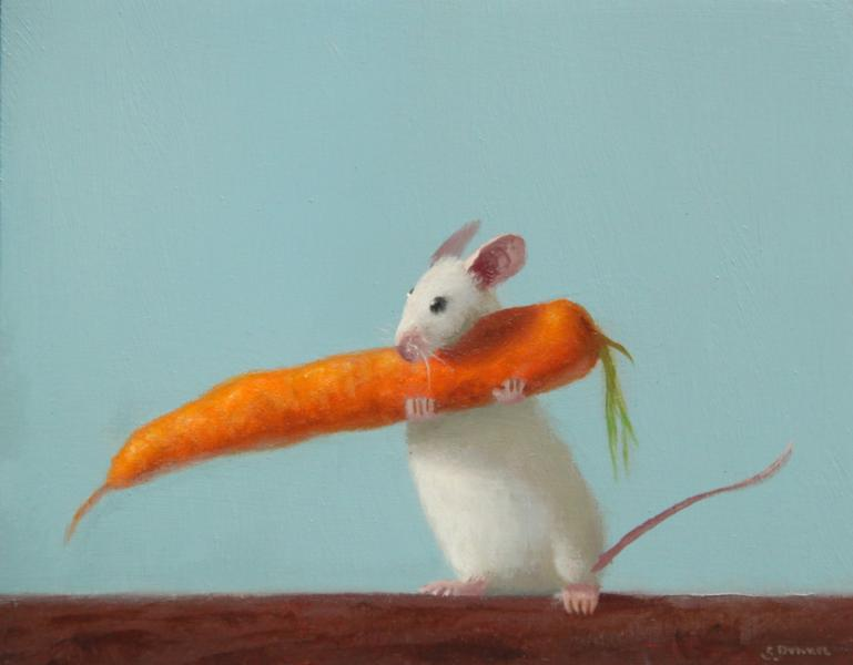 Healthy Meal, oil on panel, 4 x 5 inches  SOLD